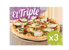 El triple de Telepizza: 3 medianas(hasta 5 ingr.) por 7€ cada una.