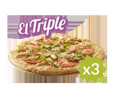 El Triple de Telepizza: 3 familiares (hasta 5 ingr.) por 11€ cada una