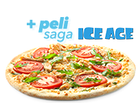 Tu pizza mediana favorita (hasta 5 ingr.) y película Ice Age 10,95€