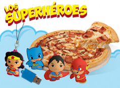 Tu pizza mediana y un Peluche o USB de los Superhéroes