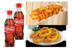 2 Botellas de Coca-Cola (50cl.) y Patatas Gajo o Aros de Cebolla