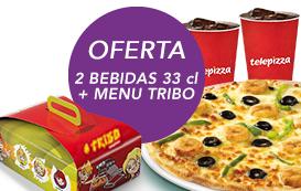 Quintas Infantis: Na compra de pizza média (4 ingr) oferta de 2 bebidas + Menu Tribo