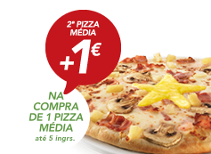 Na compra de pizza média (5 ingr), 2ª pizza Estrela por +1€