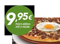 Pizza média até 4 ingrs por: