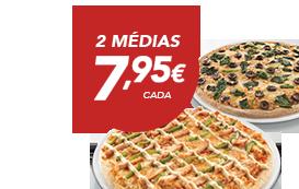 2 Pizzas médias (até 4 ingrs)