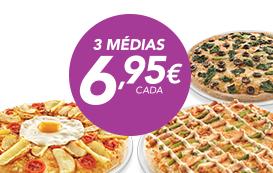3 Pizzas médias (até 4 ingrs)